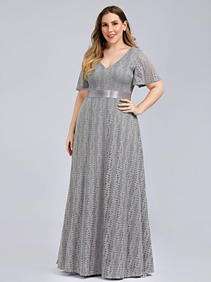 cheap Evening Dresses-A-Line Plus Size Grey Wedding Guest Formal Evening Dress V Neck Short Sleeve Floor Length Lace with Lace Insert Pattern / Print 2020