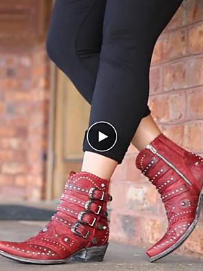 cheap Wedding Slips-Women's Boots Chunky Heel Pointed Toe Daily Rivet PU Mid-Calf Boots Black / Red