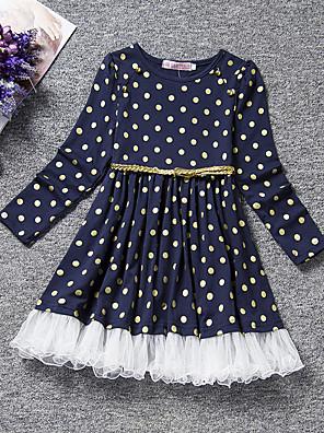 cheap Girls' Dresses-Kids Toddler Girls' Active Sweet Polka Dot Long Sleeve Knee-length Dress Blue