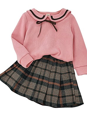 cheap Boys' Tops-Kids Girls' Basic Plaid Long Sleeve Clothing Set Blushing Pink