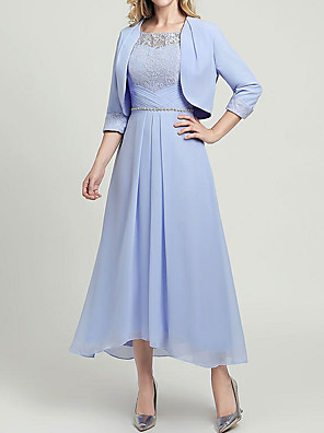 cheap Cocktail Dresses-Two Piece A-Line Mother of the Bride Dress Wrap Included Jewel Neck Ankle Length Chiffon 3/4 Length Sleeve with Lace Sash / Ribbon 2020