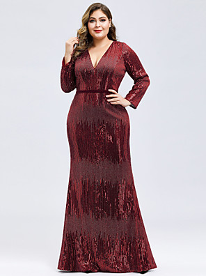 cheap Plus Size Dresses-Mermaid / Trumpet Elegant Plus Size Formal Evening Dress Plunging Neck Long Sleeve Floor Length Sequined with Sequin 2020