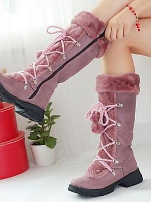 cheap Girls' Dresses-Women's Boots Flat Heel Round Toe Suede Mid-Calf Boots Fall & Winter Purple / Brown / Black