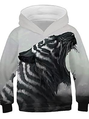 cheap Girls' Dresses-Kids Boys' Active Street chic Tiger Lion Print 3D Animal Print Long Sleeve Hoodie & Sweatshirt Gray