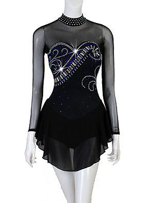 cheap Ice Skating Dresses , Pants & Jackets-Figure Skating Dress Women's Girls' Ice Skating Dress Black Patchwork Stretch Yarn High Elasticity Competition Skating Wear Crystal / Rhinestone Figure Skating