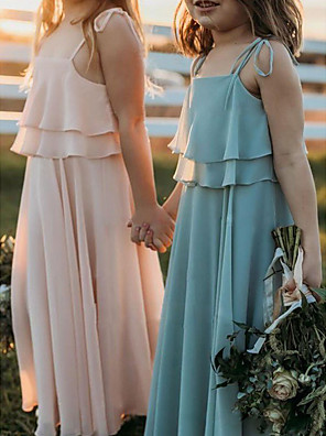 cheap Flower Girl Dresses-A-Line Strap Floor Length Chiffon Junior Bridesmaid Dress with Side Draping / First Communion