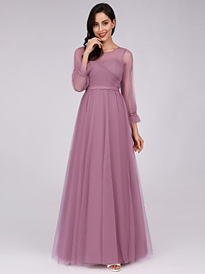 cheap Bridesmaid Dresses-A-Line Jewel Neck Floor Length Tulle Bridesmaid Dress with Sash / Ribbon
