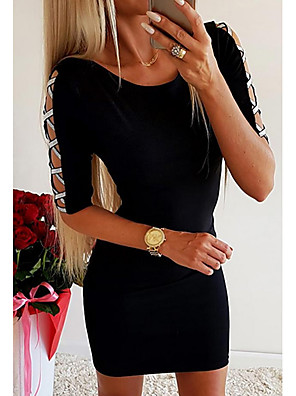 cheap Romantic Lace Dresses-Women's Bodycon Dress - Half Sleeve Solid Colored Cut Out Glitter Going out Black S M L XL XXL