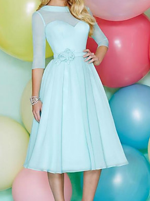 cheap Bridesmaid Dresses-A-Line Jewel Neck Knee Length Tulle Bridesmaid Dress with Appliques / Pleats