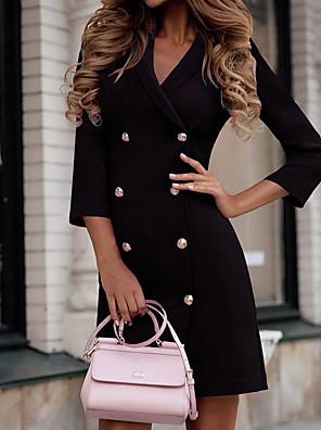 cheap Mini Dresses-Women's Mini Sheath Dress - 3/4 Length Sleeve Solid Colored Shirt Collar Wine Black Purple S M L XL XXL