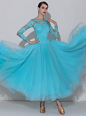 cheap Ballroom Dancewear-Ballroom Dance Dress Lace Ruching Split Joint Women's Performance Long Sleeve High Lace Georgette