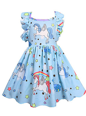 cheap Girls' Dresses-Kids Girls' Active Unicorn Geometric Solid Colored Sleeveless Dress Purple