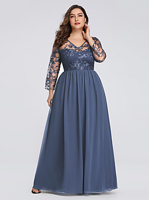 cheap Prom Dresses-A-Line Plus Size Blue Wedding Guest Formal Evening Dress V Neck 3/4 Length Sleeve Floor Length Chiffon Lace with Pleats Appliques 2020
