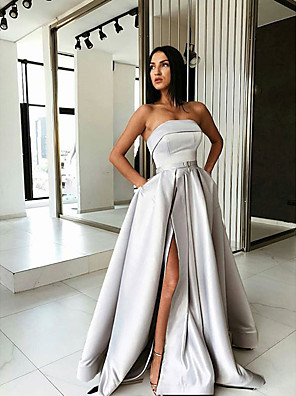 cheap Wedding Dresses-A-Line Sexy Grey Prom Formal Evening Dress Strapless Sleeveless Sweep / Brush Train Satin with Pleats Split 2020