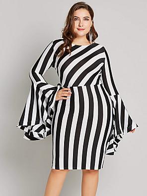cheap Women's Dresses-Women's Plus Size Bodycon Dress - Long Sleeve Striped Black Blue Red Yellow Green L XL XXL XXXL XXXXL XXXXXL XXXXXXL