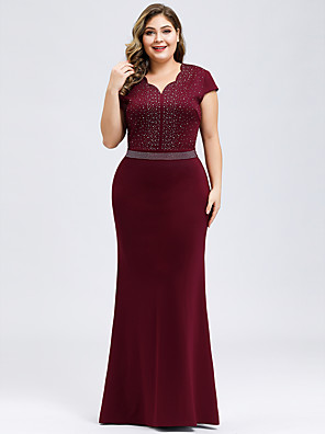 cheap Evening Dresses-Mermaid / Trumpet Plus Size Formal Evening Dress V Neck Short Sleeve Floor Length Polyester with Crystals 2020
