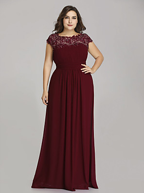 cheap Mother of the Bride Dresses-A-Line Mother of the Bride Dress Plus Size Jewel Neck Floor Length Chiffon Short Sleeve with Lace Ruching 2020
