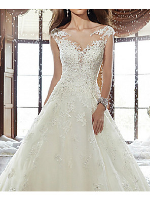 cheap Wedding Dresses-A-Line Wedding Dresses V Neck Sweep / Brush Train Lace Cap Sleeve Simple Backless with Appliques 2020