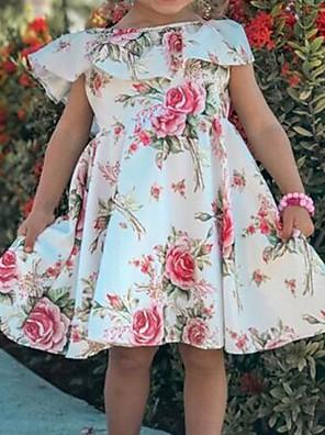 cheap Girls' Dresses-Kids Girls' Floral Dress White