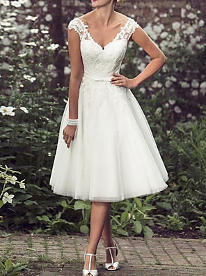 cheap Wedding Dresses-A-Line Wedding Dresses V Neck Tea Length Lace Tulle Regular Straps Mordern Vintage Modern with Buttons Beading 2020