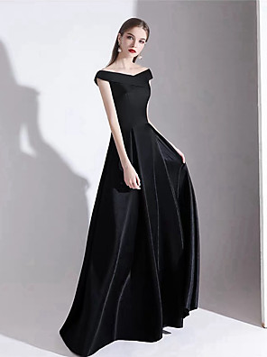 cheap Evening Dresses-A-Line Empire Black Party Wear Prom Dress Off Shoulder Short Sleeve Floor Length Satin with Pleats 2020
