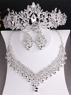 cheap Wedding Slips-Women's Clear Crystal Bridal Jewelry Sets Classic Crown Luxury Fashion Rhinestone Earrings Jewelry Silver For Wedding Party Engagement 1 set / Hair Jewelry