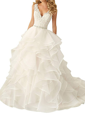 cheap Wedding Dresses-A-Line V Neck Sweep / Brush Train Polyester Regular Straps Glamorous Backless Wedding Dresses with Sashes / Ribbons / Cascading Ruffles 2020