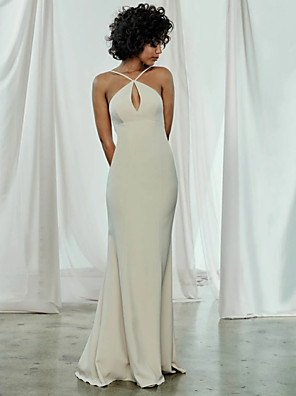cheap Bridesmaid Dresses-Sheath / Column Spaghetti Strap Sweep / Brush Train Chiffon Bridesmaid Dress with / Open Back