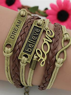 cheap Quartz Watches-Women's Wrap Bracelet Vintage Bracelet Braided Love Precious Vintage PU Leather Bracelet Jewelry Brown For Daily Street