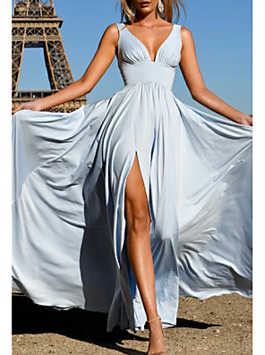 cheap Cocktail Dresses-A-Line Open Back Formal Evening Dress Plunging Neck Sleeveless Floor Length Satin with Pleats Split Front 2020