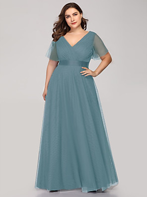 cheap Bridesmaid Dresses-A-Line V Neck Floor Length Tulle Bridesmaid Dress with Sash / Ribbon / Ruching / Butterfly Sleeve