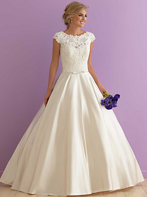 cheap Wedding Dresses-A-Line Wedding Dresses Jewel Neck Floor Length Satin Cap Sleeve Country Casual Illusion Detail with Sashes / Ribbons Lace Insert 2020