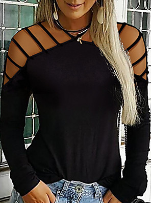 cheap Women's Blouses-Women's Plus Size Solid Colored T-shirt Daily Halter Neck Wine / Black / Blue / Green / Gray