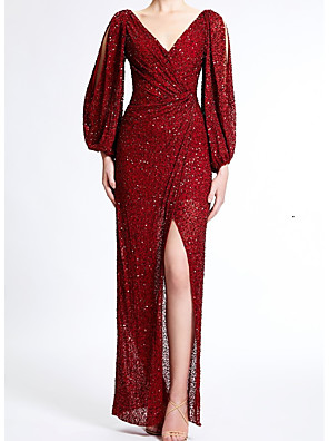 cheap Evening Dresses-Sheath / Column Elegant Formal Evening Dress V Neck Long Sleeve Floor Length Sequined with Split Front 2020