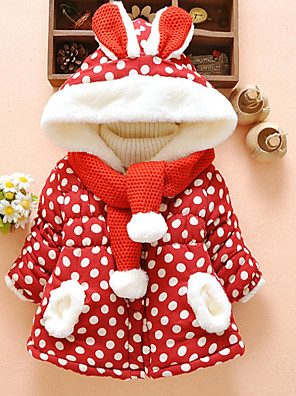 cheap Baby Girls' One-Piece-Baby Girls' Active Polka Dot Christmas Print Regular Down & Cotton Padded Red / Toddler