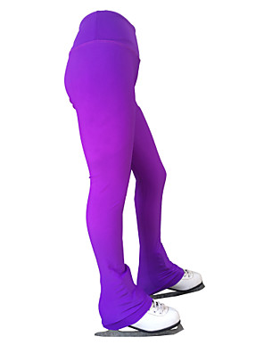cheap Ice Skating Dresses , Pants & Jackets-21Grams Figure Skating Pants Women's Girls' Ice Skating Tights Bottoms Violet Spandex Stretch Yarn High Elasticity Training Skating Wear Solid Colored Classic Long Pant Ice Skating Figure Skating