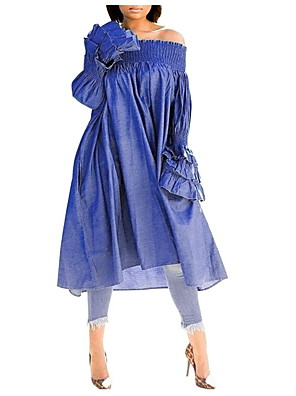 cheap Women's Dresses-Women's Shift Dress - Long Sleeve Solid Colored Off Shoulder Elegant Blue S M L XL XXL XXXL