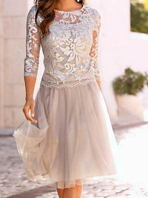 cheap Evening Dresses-A-Line Mother of the Bride Dress Elegant See Through Jewel Neck Knee Length Chiffon Lace 3/4 Length Sleeve with Lace Ruching 2020