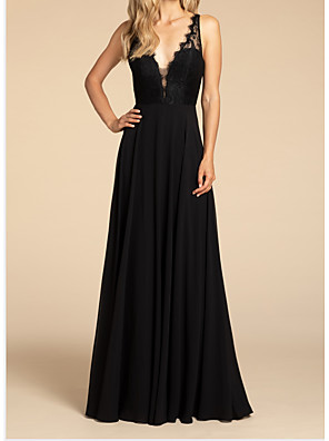 cheap Evening Dresses-A-Line Plunging Neck Floor Length Chiffon Bridesmaid Dress with Ruching