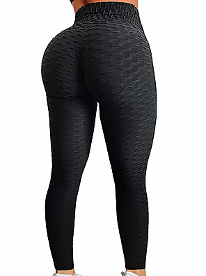 cheap Tankinis-Women's High Waist Yoga Pants Jacquard Ruched Butt Lifting Fashion Purple Red Dusty Rose Dark Black Pink Spandex Running Fitness Gym Workout Tights Leggings Sport Activewear Push Up Tummy Control