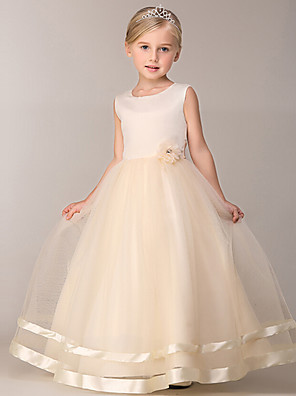 cheap Christening Gowns-Princess Knee Length Party / Pageant Flower Girl Dresses - Polyester / Tulle Sleeveless Jewel Neck with Petal