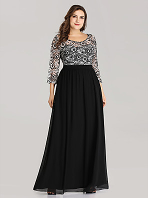 cheap Prom Dresses-A-Line Plus Size Black Wedding Guest Formal Evening Dress Jewel Neck 3/4 Length Sleeve Floor Length Chiffon Lace with Pattern / Print 2020