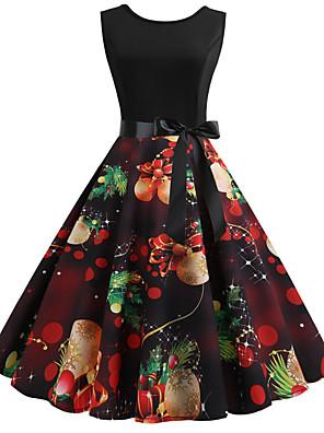 cheap Women's Dresses-Women's A Line Dress - Sleeveless Color Block Print Basic Red S M L XL XXL