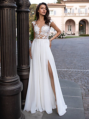 cheap Wedding Dresses-A-Line Wedding Dresses V Neck Sweep / Brush Train Chiffon Lace Regular Straps Beach Sexy Illusion Detail Backless with Appliques Split Front 2020