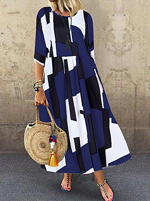 cheap Maxi Dresses-Women's Maxi Shift Dress - 3/4 Length Sleeve Geometric Boho Daily Formal Loose Blue Blushing Pink Navy Blue M L XL XXL XXXL XXXXL XXXXXL