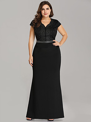 cheap Cocktail Dresses-Mermaid / Trumpet Plus Size Black Wedding Guest Formal Evening Dress Scalloped Neckline Short Sleeve Floor Length Polyester with Beading Sequin 2020