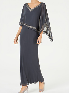 cheap Mother of the Bride Dresses-Sheath / Column Mother of the Bride Dress Elegant & Luxurious V Neck Ankle Length Chiffon Half Sleeve with Appliques Ruching 2020