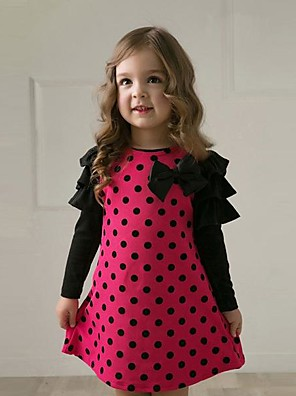 cheap Girls' Dresses-Kids Toddler Girls' Street chic Chinoiserie Polka Dot Striped Bow Ruffle Lace up Long Sleeve Above Knee Dress Yellow / Cotton
