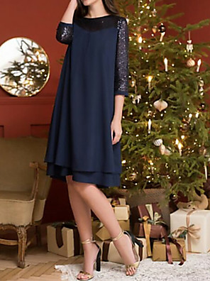 cheap Cocktail Dresses-A-Line Mother of the Bride Dress Plus Size Jewel Neck Knee Length Chiffon Lace 3/4 Length Sleeve with Tier 2020