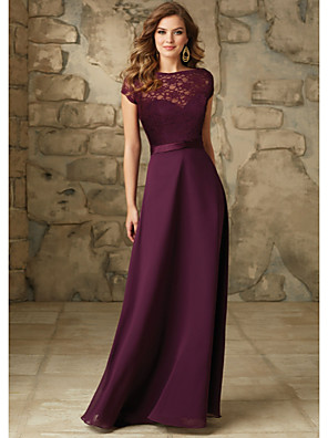cheap Bridesmaid Dresses-A-Line Bateau Neck Floor Length Chiffon / Lace Bridesmaid Dress with Sash / Ribbon / Open Back